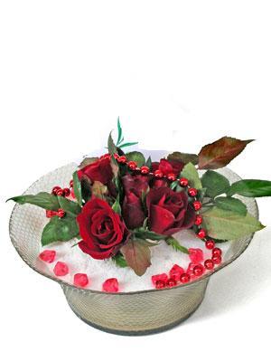 Kütahya çiçek yolla , çiçek gönder , çiçekçi   EN ÇOK Sevenlere 7 adet kirmizi gül mika yada cam tanzim
