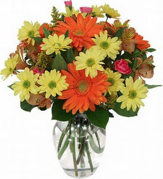 Kütahya çiçek , çiçekçi , çiçekçilik  vazo içerisinde karışık mevsim çiçekleri
