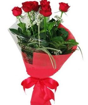 5 adet kırmızı gülden buket  Kütahya çiçek siparişi sitesi
