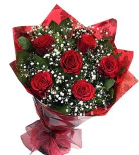6 adet kırmızı gülden buket  Kütahya çiçekçiler