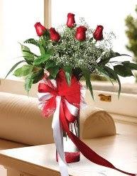 Camda 5 kırmızı gül tanzimi  Kütahya 14 şubat sevgililer günü çiçek