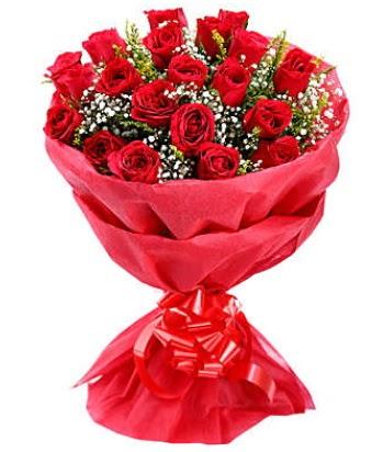 21 adet kırmızı gülden modern buket  Kütahya uluslararası çiçek gönderme