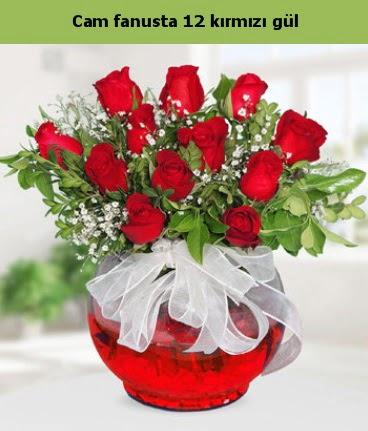 Cam içerisinde 12 adet kırmızı gül  Kütahya güvenli kaliteli hızlı çiçek