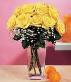 Kütahya güvenli kaliteli hızlı çiçek  9 adet sari güllerden cam yada mika vazo