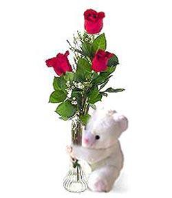 oyuncak ve 3 adet gül  Kütahya kaliteli taze ve ucuz çiçekler