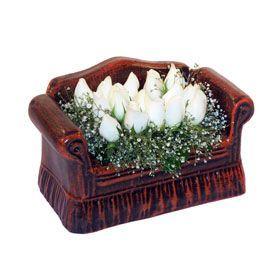 seramik içerisinde 11 gül  Kütahya çiçek servisi , çiçekçi adresleri