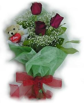 3 adet gül ve küçük ayicik buketi  Kütahya çiçek gönderme sitemiz güvenlidir