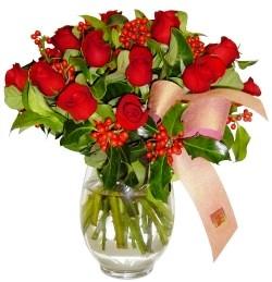 Kütahya çiçek mağazası , çiçekçi adresleri  11 adet kirmizi gül  cam aranjman halinde