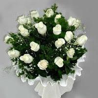 Kütahya çiçek servisi , çiçekçi adresleri  11 adet beyaz gül buketi ve bembeyaz amnbalaj