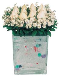 Kütahya çiçek mağazası , çiçekçi adresleri  7 adet beyaz gül cam yada mika vazo tanzim