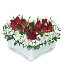 Kütahya online çiçekçi , çiçek siparişi  mika kalp içerisinde 9 adet kirmizi gül