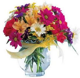 Kütahya güvenli kaliteli hızlı çiçek  cam yada mika içerisinde karisik mevsim çiçekleri