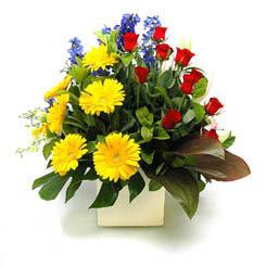Kütahya İnternetten çiçek siparişi  9 adet gül ve kir çiçekleri cam yada mika vazoda