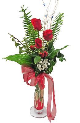 Çiçek gönderin cam vazoda 3 gül çiçekleri  Kütahya kaliteli taze ve ucuz çiçekler