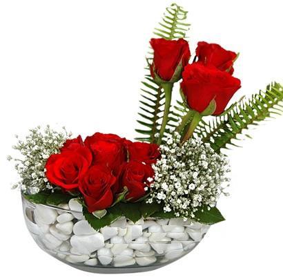 cam içerisinde 9 adet kirmizi gül  Kütahya çiçek yolla , çiçek gönder , çiçekçi