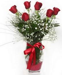 7 adet gülden cam içerisinde güller  Kütahya çiçekçi telefonları
