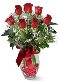 7 adet vazoda gül  Kütahya güvenli kaliteli hızlı çiçek  kirmizi gül