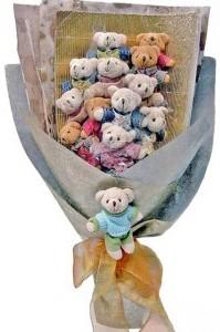 12 adet ayiciktan buket tanzimi  Kütahya çiçek gönderme sitemiz güvenlidir