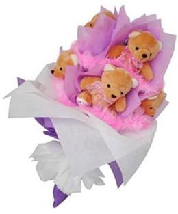 9 adet ayiciktan buket  Kütahya çiçek , çiçekçi , çiçekçilik