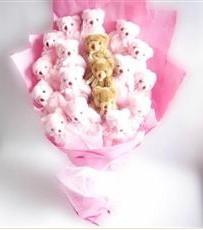 17 adet pelus ayicik buketi  Kütahya online çiçek gönderme sipariş