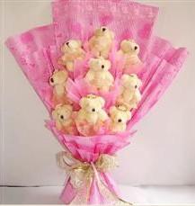 9 adet pelus ayicik buketi  Kütahya çiçek satışı