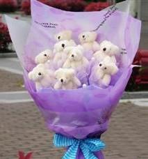 11 adet pelus ayicik buketi  Kütahya çiçek online çiçek siparişi