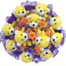 11 adet pelus ayicik buketi  Kütahya çiçekçi mağazası