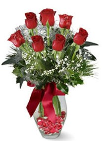 Kütahya online çiçekçi , çiçek siparişi  7 adet kirmizi gül cam vazo yada mika vazoda