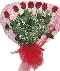 7 adet kipkirmizi gülden görsel buket  Kütahya çiçekçi mağazası