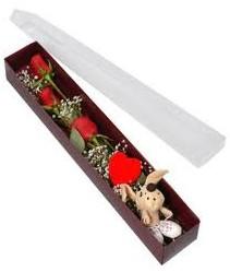 kutu içerisinde 3 adet gül ve oyuncak  Kütahya çiçek yolla