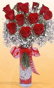 10 adet kirmizi gülden vazo tanzimi  Kütahya kaliteli taze ve ucuz çiçekler