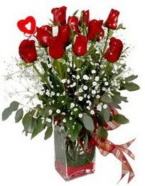 Kütahya çiçek yolla , çiçek gönder , çiçekçi   9 adet mika yada cam vazoda gül tanzimi kalp çubuk