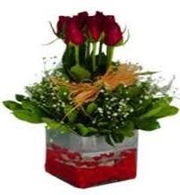 Kütahya uluslararası çiçek gönderme  7 adet mika yada cam vazoda gül tanzimi