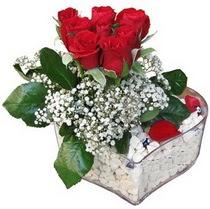 Kütahya internetten çiçek satışı  kalp mika içerisinde 7 adet kirmizi gül