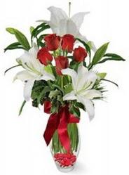 Kütahya çiçek yolla , çiçek gönder , çiçekçi   5 adet kirmizi gül ve 3 kandil kazablanka