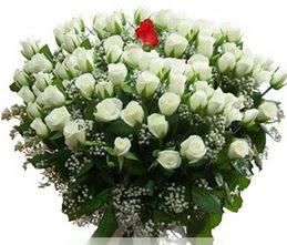 Kütahya güvenli kaliteli hızlı çiçek  100 adet beyaz 1 adet kirmizi gül buketi