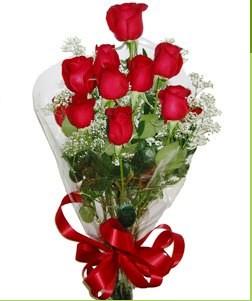 Kütahya çiçek gönderme  10 adet kırmızı gülden görsel buket