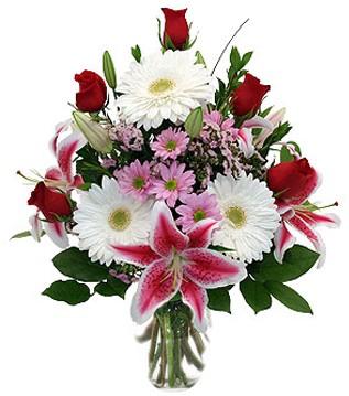 Kütahya çiçekçi mağazası  1 dal kazablanka 5 gül ve kırçiçeği vazosu