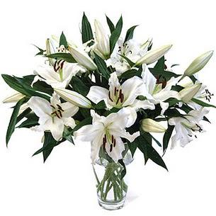 Kütahya 14 şubat sevgililer günü çiçek  3 dal görsel casablanca vazo tanzimi