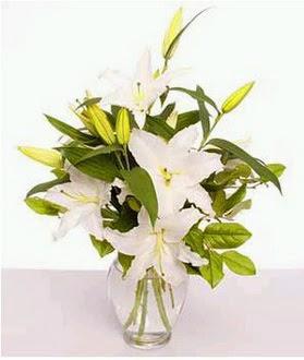Kütahya uluslararası çiçek gönderme  2 dal cazablanca vazo çiçeği