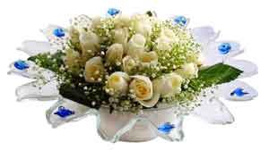 Kütahya ucuz çiçek gönder  11 adet Beyaz güller özel cam tanzim