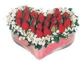 Kütahya 14 şubat sevgililer günü çiçek  mika kalpte kirmizi güller 9