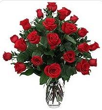 Kütahya kaliteli taze ve ucuz çiçekler  24 adet kırmızı gülden vazo tanzimi