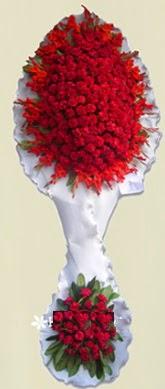 Çift katlı kıpkırmızı düğün açılış çiçeği  Kütahya çiçek satışı