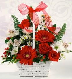 Karışık rengarenk mevsim çiçek sepeti  Kütahya online çiçekçi , çiçek siparişi