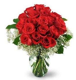25 adet kırmızı gül cam vazoda  Kütahya hediye sevgilime hediye çiçek