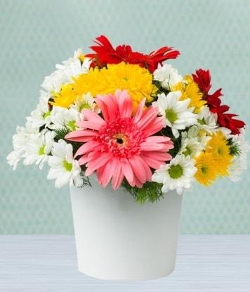 Seramik Vazoda Gelbera ve Papatya  Kütahya uluslararası çiçek gönderme