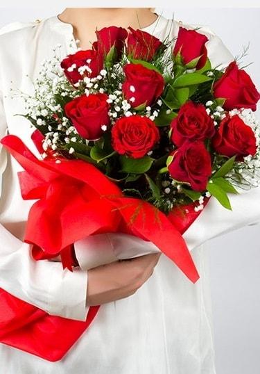 Aşk Gülleri 11 Adet kırmızı gül buketi  Kütahya 14 şubat sevgililer günü çiçek