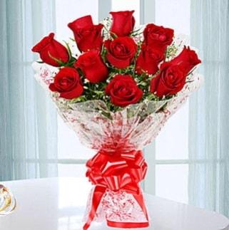 11 adet kırmızı gülden görsel şık buket  Kütahya çiçek online çiçek siparişi
