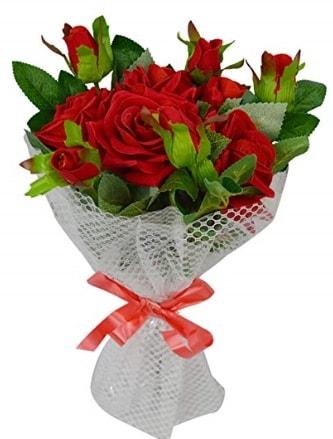 9 adet kırmızı gülden sade şık buket  Kütahya 14 şubat sevgililer günü çiçek